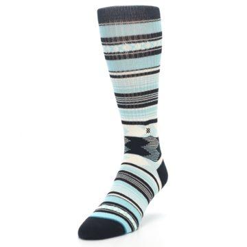 Image of Blue Black White Striped Men's Casual Socks (side-2-front-07)