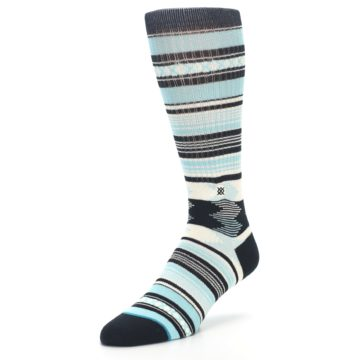 Image of Blue Black White Striped Men's Casual Socks (side-2-front-08)