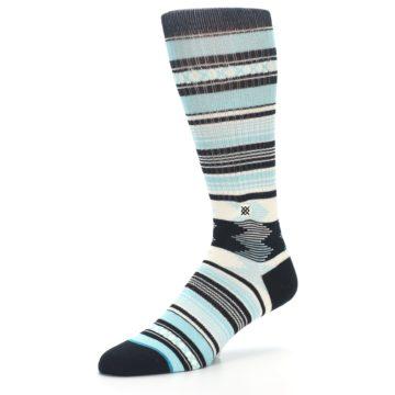 Image of Blue Black White Striped Men's Casual Socks (side-2-09)