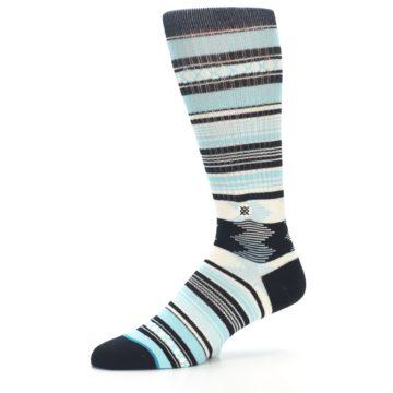 Image of Blue Black White Striped Men's Casual Socks (side-2-10)