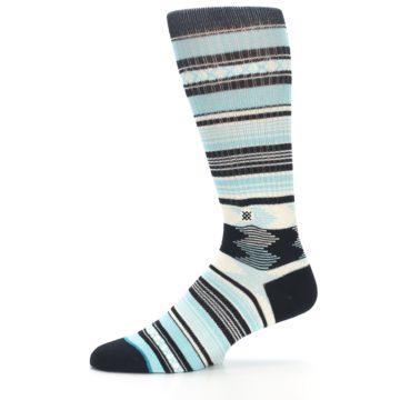 Image of Blue Black White Striped Men's Casual Socks (side-2-11)