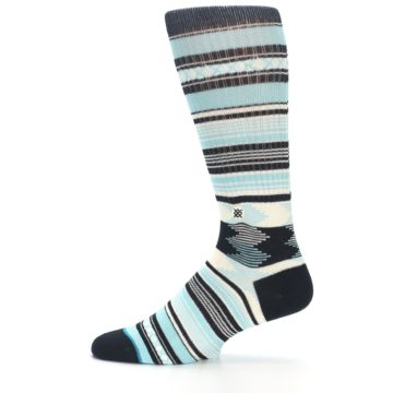 Image of Blue Black White Striped Men's Casual Socks (side-2-12)