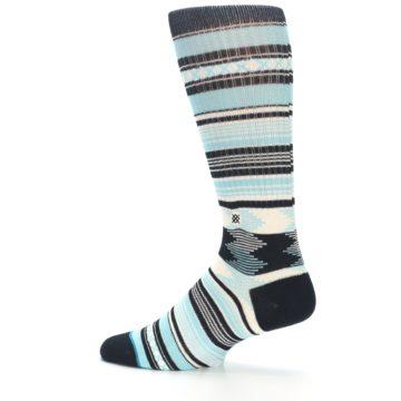 Image of Blue Black White Striped Men's Casual Socks (side-2-13)