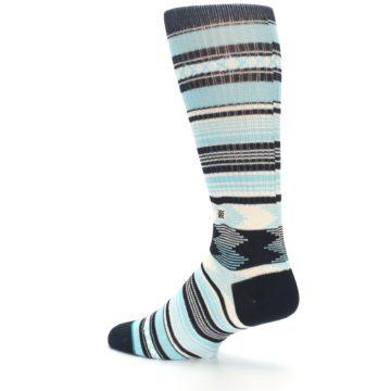 Image of Blue Black White Striped Men's Casual Socks (side-2-back-14)