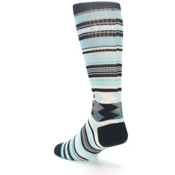 Image of Blue Black White Striped Men's Casual Socks (side-2-back-15)