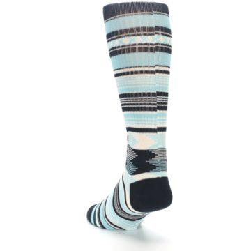 Image of Blue Black White Striped Men's Casual Socks (side-2-back-16)