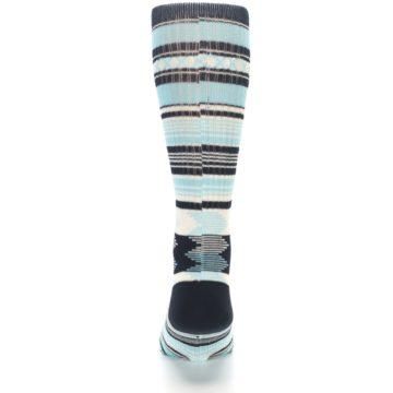 Image of Blue Black White Striped Men's Casual Socks (back-18)