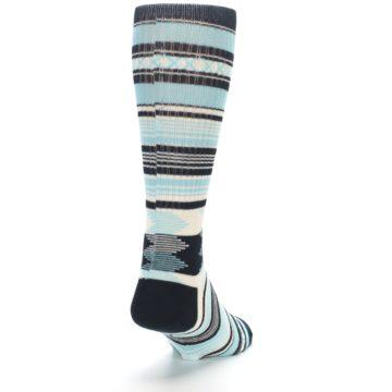 Image of Blue Black White Striped Men's Casual Socks (side-1-back-20)