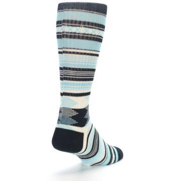 Image of Blue Black White Striped Men's Casual Socks (side-1-back-21)