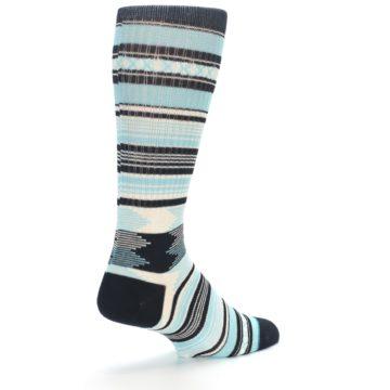 Image of Blue Black White Striped Men's Casual Socks (side-1-back-22)
