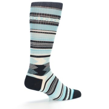 Image of Blue Black White Striped Men's Casual Socks (side-1-23)