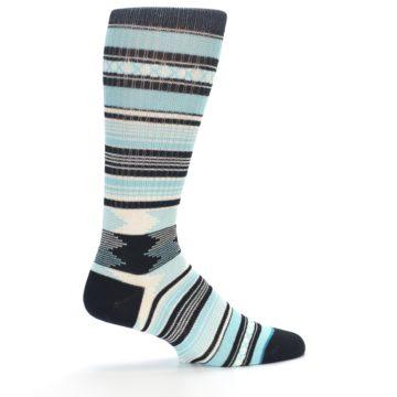Image of Blue Black White Striped Men's Casual Socks (side-1-24)