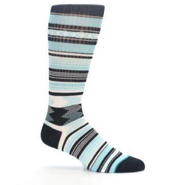 Image of Blue Black White Striped Men's Casual Socks (side-1-25)