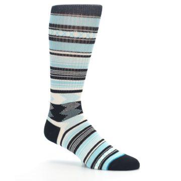 Image of Blue Black White Striped Men's Casual Socks (side-1-26)