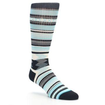 Image of Blue Black White Striped Men's Casual Socks (side-1-27)