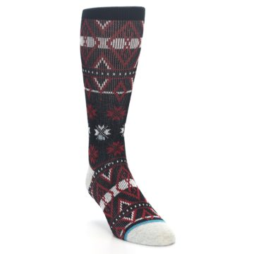 Image of Black Red White Pattern Men's Casual Socks (side-1-front-02)