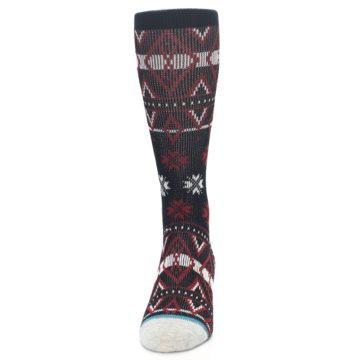 Image of Black Red White Pattern Men's Casual Socks (front-05)
