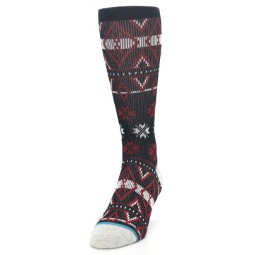 Image of Black Red White Pattern Men's Casual Socks (side-2-front-06)