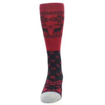 Image of Red Black Reindeer Pattern Men's Casual Socks (front-05)
