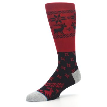 Image of Red Black Reindeer Pattern Men's Casual Socks (side-2-09)