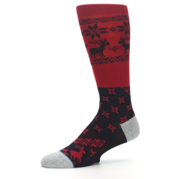 Image of Red Black Reindeer Pattern Men's Casual Socks (side-2-10)