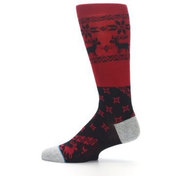 Image of Red Black Reindeer Pattern Men's Casual Socks (side-2-12)
