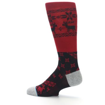 Image of Red Black Reindeer Pattern Men's Casual Socks (side-2-13)