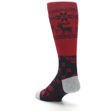 Image of Red Black Reindeer Pattern Men's Casual Socks (side-2-back-15)