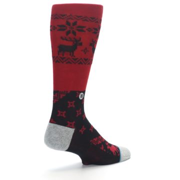 Image of Red Black Reindeer Pattern Men's Casual Socks (side-1-back-22)