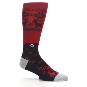 Image of Red Black Reindeer Pattern Men's Casual Socks (side-1-25)