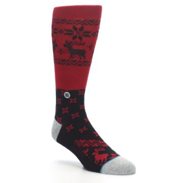 Image of Red Black Reindeer Pattern Men's Casual Socks (side-1-27)