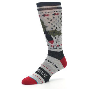 Image of Grey Black Red Mistletoe Men's Casual Socks (side-2-09)