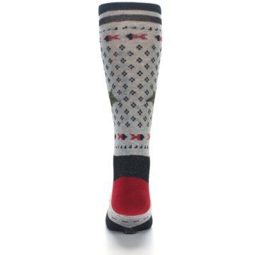 Image of Grey Black Red Mistletoe Men's Casual Socks (back-18)