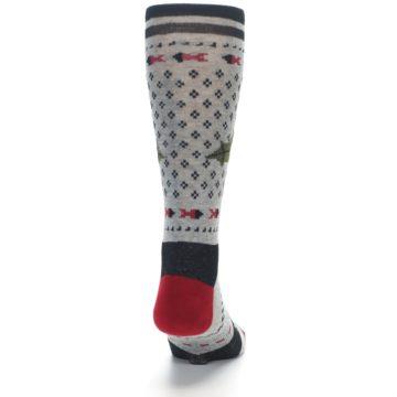 Image of Grey Black Red Mistletoe Men's Casual Socks (back-19)