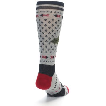 Image of Grey Black Red Mistletoe Men's Casual Socks (side-1-back-20)