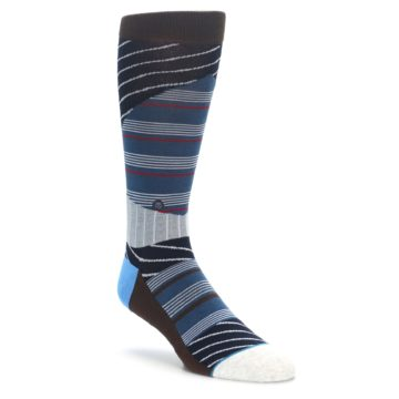 Blue Grey White Striped men's casual socks from STANCE