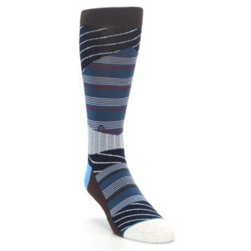 Image of Blue Grey Black Stripes Men's Casual Socks (side-1-front-02)