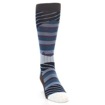 Image of Blue Grey Black Stripes Men's Casual Socks (side-1-front-03)