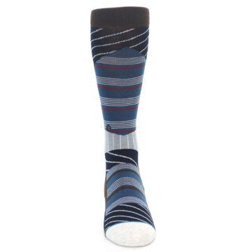 Image of Blue Grey Black Stripes Men's Casual Socks (front-04)