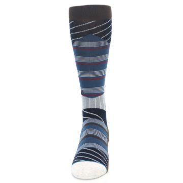 Image of Blue Grey Black Stripes Men's Casual Socks (front-05)