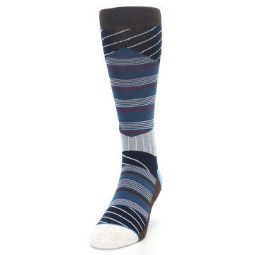 Image of Blue Grey Black Stripes Men's Casual Socks (side-2-front-06)