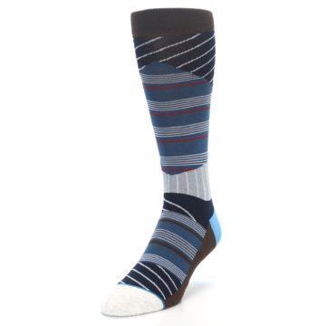 Image of Blue Grey Black Stripes Men's Casual Socks (side-2-front-07)