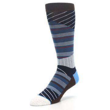Image of Blue Grey Black Stripes Men's Casual Socks (side-2-front-08)