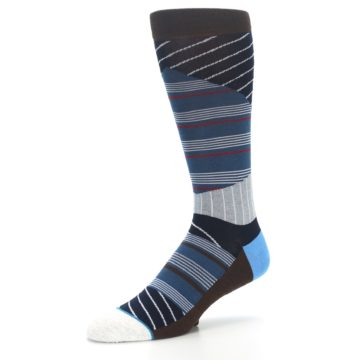 Image of Blue Grey Black Stripes Men's Casual Socks (side-2-09)