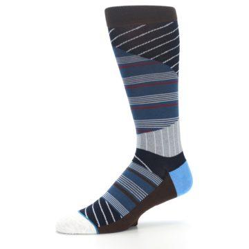 Image of Blue Grey Black Stripes Men's Casual Socks (side-2-10)