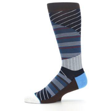 Image of Blue Grey Black Stripes Men's Casual Socks (side-2-11)