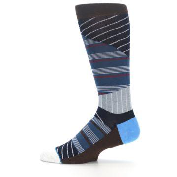 Image of Blue Grey Black Stripes Men's Casual Socks (side-2-12)