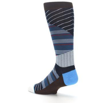Image of Blue Grey Black Stripes Men's Casual Socks (side-2-back-14)