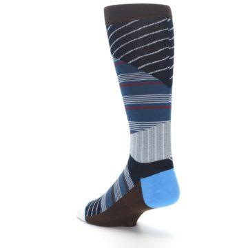 Image of Blue Grey Black Stripes Men's Casual Socks (side-2-back-15)
