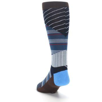 Image of Blue Grey Black Stripes Men's Casual Socks (side-2-back-16)